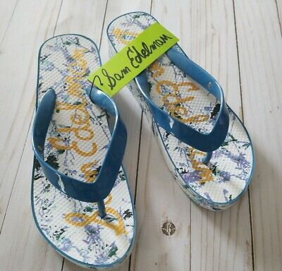 SAM EDELMAN KYLEE Blue Patterned FLIP FLOPS WOMENS Size  8.0 NWT