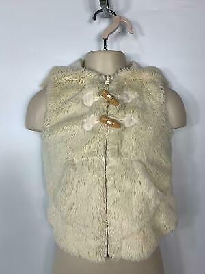 Girls Next Cream Fluffy Casual Winter Gilet Hood Body Warmer Jacket Kid Age 3 Y