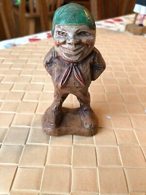 Miniature Vintage Wood Hand Carved Sailor or Pirate