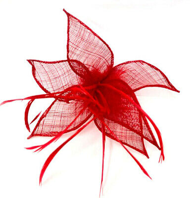 Red Feather Beak Clip Fascinator Ladies Day Races Ascot Weddings