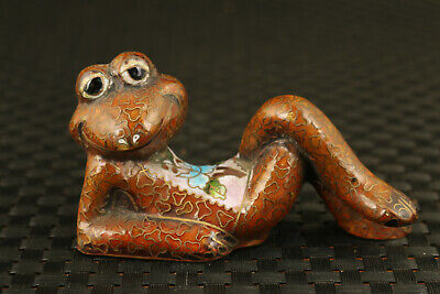 chinese cloisonne Antique recline frog statue table decoration collection