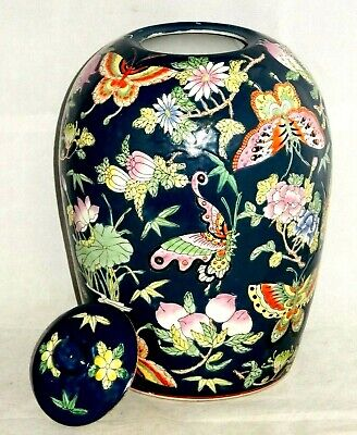 """QIANLONG 19th CENTURY CHINESE PORCELAIN FAMILLE ROSE 13.5"""" GINGER JAR BUTTERFLY"""
