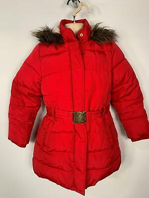 Girls M&S Pink Casual Winter Padded School Hood Raincoat Jacket Kid Age 7/8 Yrs