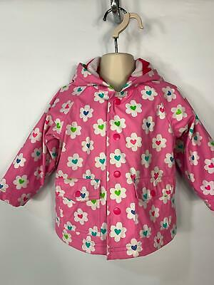 Girls Hatley Pink Flower Light Weight Hood Raincoat Jacket Kids Age 18/24 Month