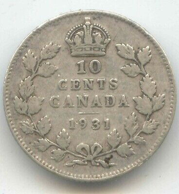 Canada 1931 Canadian Silver Dime Ten Cents 10c 10 c EXACT COIN SHOWN /(lot1)