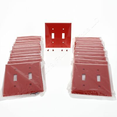 25 Leviton Red UNBREAKABLE 2-Gang Toggle Switch Cover Nylon Wallplates 80709-R