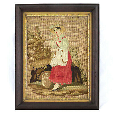 Antique 19th c. Figural Wool Needlework EmbroideryPortrait Original Gilded Frame