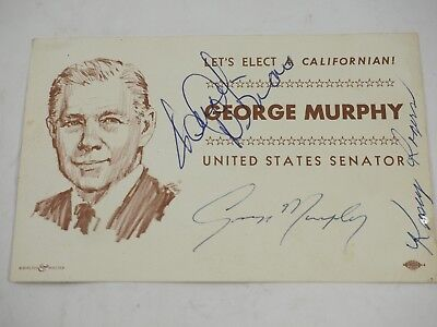 George Murphy(Senator) Kasey Rogers hand signed Authentic autograph Cut out