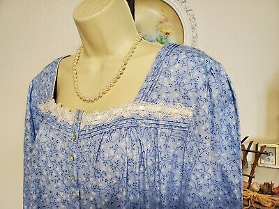 NWT M Medium Blue Eileen West Nightgown Gown NEW 100% Cotton Knit Long Sleeve