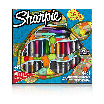 Sharpie Permanent Markers, Marker Set with 6 Bonus Activity Pages, 44 Piece Set