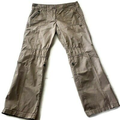 Dalia Collection Womens Size 12 Khaki Cargo Convertible Roll up Capri Pants Crop
