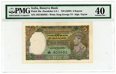 India ... P-18a ... 5 Rupees ... ND(1937) ... *XF* ... PMG 40 (XF)