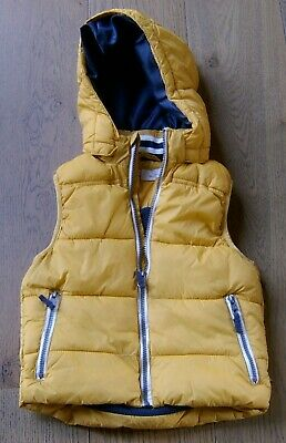 H&M Boys Yellow Hooded Puffer Vest Sz 8
