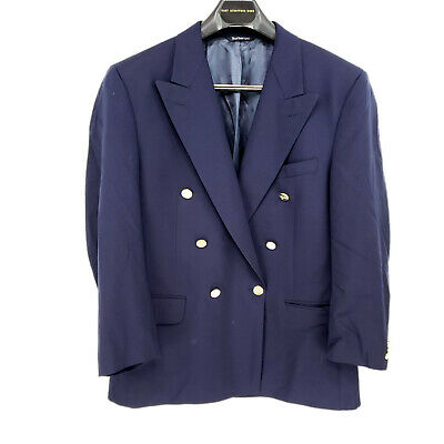 VINTAGE Bespoke Blueberry's Double Breasted Navy Blue Gold Buttons Blazer Jacket