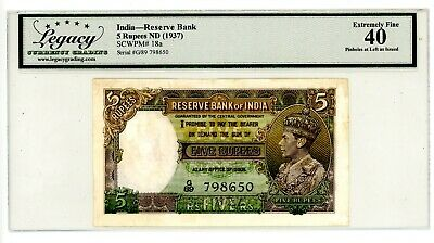 India ... P-18a ... 5 Rupees ... ND(1937) ... Choice *XF* ...