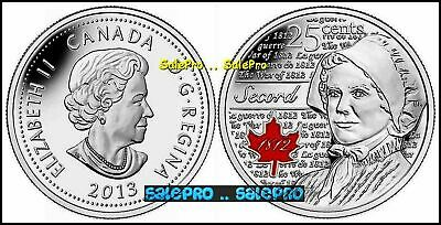 Canada 2013 Canadian Quarter War Of 1812 Laura Secord Colorized 25 Cent Coin Unc