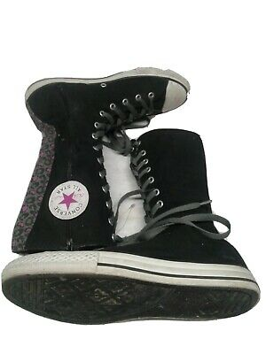 Converse All Star Canvas High Top Side Zip Up Sneakers Size 5 Girls