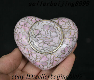 Old Chinese Dynasty Bronze Cloisonne Enamel heart-shaped Jewelry Box Jewel Case