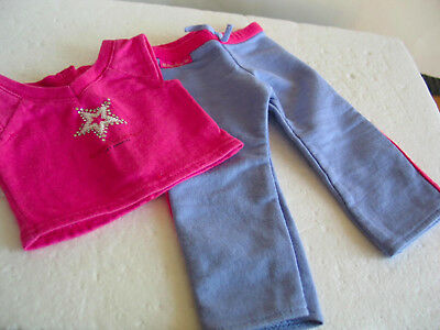 Authentic American Girl Doll Pink & Blue Sweatpants & Pink Los Angeles Tee 2 pc