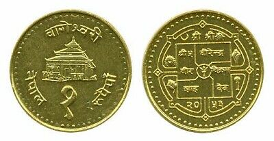 Plowing Oxen 2 Rupee Coin current NEPAL Mt Everest  UNCIRCULATED  REVERSE