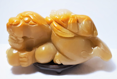 Antique Chinese Hand Carved Yellow Jade Pixu Statue
