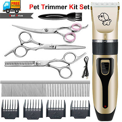 Cordless Electric Animal Pet Dog Cats Trimmer Shaver Grooming Quiet Clippers Kit