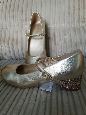 Girls NEXT Gold Glitter Party Shoes Size 2