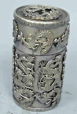 Collectable Chinese Old Miao SIlver Carve Dragon Phoenix Exorcism Toothpick Box