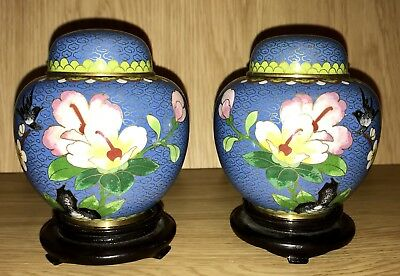 Vintage Chinese Cloisonné Enamel Pink Blossom Inlay Pair Ginger Jars With Stand