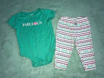 Carters Baby Girl 2 Piece Outfit Set Fabulous Legging Summer 9 Months Carter's