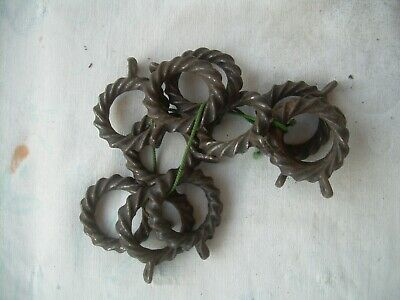 11 Twisted (16 times) Round Vintage Wrought Iron Curtain Rings Antique eyelets