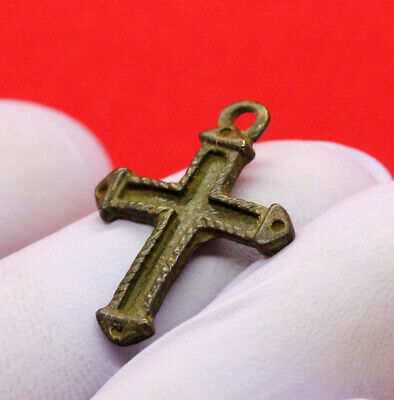 Ancient Medieval Small Bronze Cross 1500-1600Ad