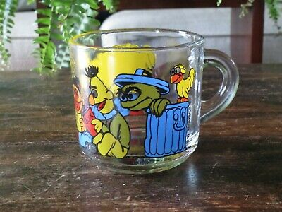 1970s Anchor Hocking Muppets Sesame Street Mug Cup Big Bird Bert Ernie Oscar