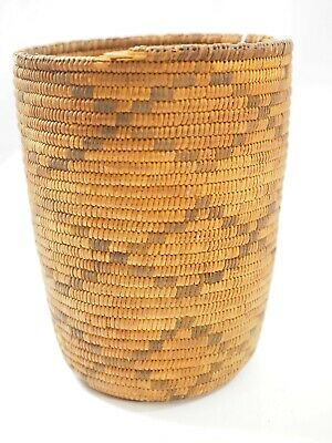 """Antique Papago Cylindrical Woven Basket 8.75"""""""