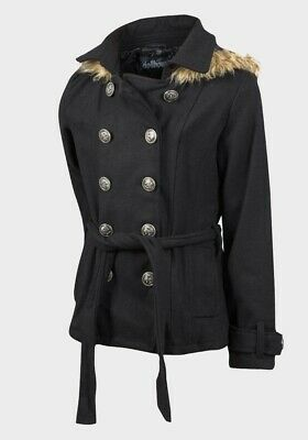 Girls Back To School Coat Parker Black Faux Fur Trim Hood 2, 3, 4, 5, 6 years