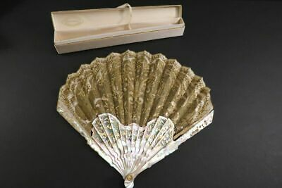 Antique Hand Fan Duvelleroy Mother of  Pearl Facher Eventail + Box France 1880