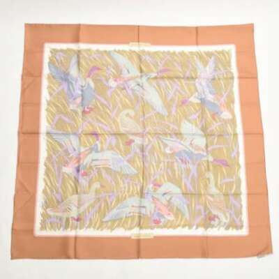 Pre-owned Authentic Hermes Scarf Carre90 COLS VERTS Beige pink multicolor F/S