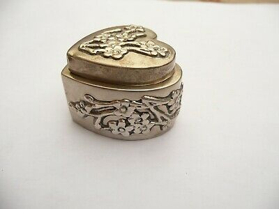 Rare Chinese Export Antique Solid Silver Small Heart Lidded Pot Signed Ch
