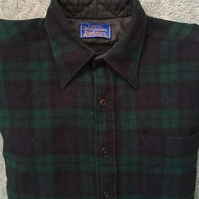 VTG PENDLETON Size M 100% Wool Country Traditionals Black Watch Tartan Flannel