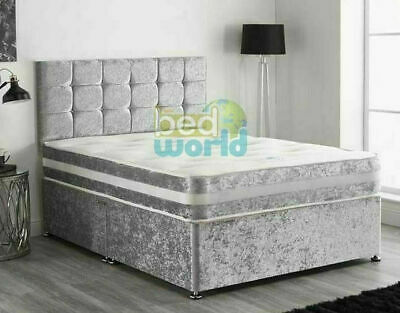 Classic Crush Velvet Bed Set with a Deep Memory Mattress and Diamante Headboard