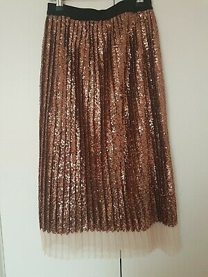 Zara Bronze Colour Pleated Midi Skirt - Size Small (S)