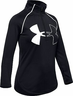 Under Armour Tech 2.0 Half Zip Long Sleeve Girls Junior Running Top - Black