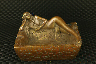big chinese old bronze girl statue pot collectable