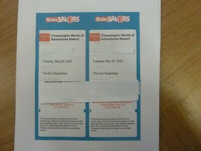Two Chessington E Tickets For Tuesday 26Th May Spring Bank Admits Adult Or Child
