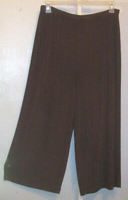 Chicos Travelers Size 3 Womens XL Brown Wide Leg Palazzo Crop Pants Slinky