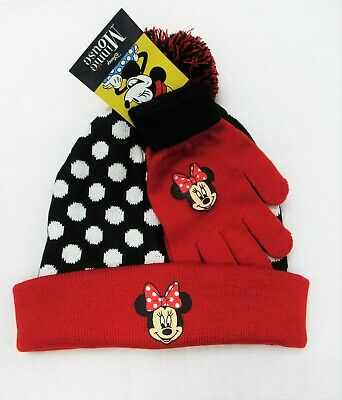 Disney Minnie Mouse Girls Childrens Polka Dot Winter Pom Pom Hat Gloves Set NWT