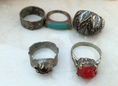 Lot of 5  Ancient Solid Ring Roman BRONZE  Stunning Artifact  vintage Rare type