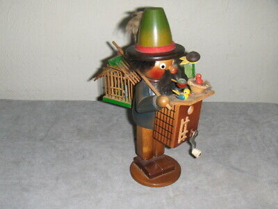 Vintage Steinbach Volkskunst German Musical Bird House Cage Man Wood Figurine