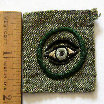 1928 Girl Scout SQUARE 2nd SECOND CLASS Patch Insignia EUC Badge Gray Green RARE