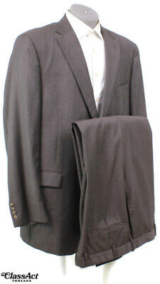 "Hickey Gray Wool Blend 2 Button Suit 48L Flat Front 42"" Waist"